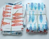 Fabric pack 8 - Newlyn Fish fabric Blue and Red