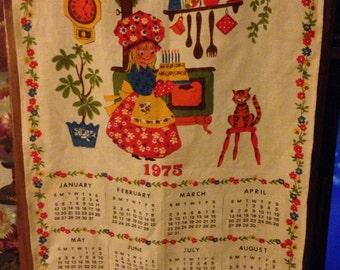 1975 CALENDAR LINEN TEATOWEL  Happiness Towel