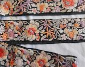 Art Deco Graceful PEONY & FLOWERS Embroidered Trim on Black Silk, Orange Lavender Pale Blue, Jacket Purse Hat Pillow, 1930s Boho Chic 33