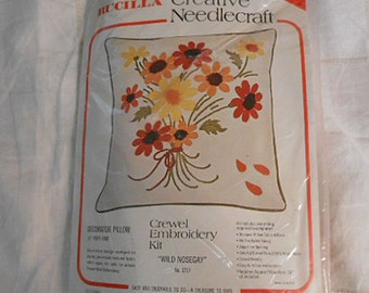 BUCILLA DAISY PILLOW Kit to Embroider Orange & Yellow Blooms Wild Nosegay 1717 Stamped Rayon/Silk, Needle Virgin Wool Instructions Unopened