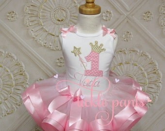 Baby Girls 1st birthday outfit - Wishes - Pink and gold sparkle - Includes embroidered top and ruffled tutu - Many colors available