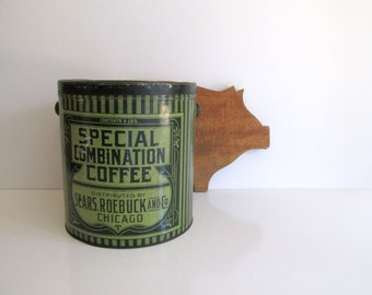 Vintage Sears Roebuck Coffee Tin Chicago Green Metal Storage Tin Country Store Decor Farmhouse Kitchen