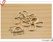 40 pieces 3/8 inch / 1cm (10mm)  light gold strap D ring ribbon d ring  P54