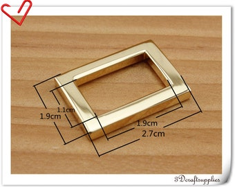 3/4  inch (inner diameter) golden  rectangle alloy buckles 12pcs 3mm thickness U171