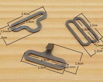20 sets of 3/4 inch ( 18mm) Anti brass / nickel/ gunmetal Bow tie hardware,  Bow tie buckle  Slide, Hook & Eye ,  3 color to choose