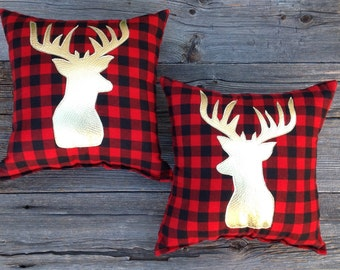 Buffalo Plaid Antler Pillow Set, Holiday Decor Gifts, Modern Decorative Pillow, Gold Deer Pillow, Plaid Pillow, Outdoorsmen Gifts, under 100