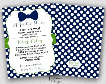 Little Man Baby Shower Invitation, Bow Tie Baby Shower Invitation, Invite, Digital, Printable File {BS57}