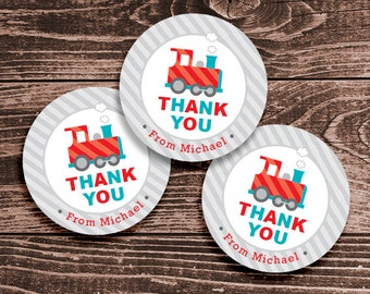 Personalized Train Party Favor Tags or Stickers – 2, 2.5, or 3 Inch Circles – DIY Printable – Thank You (Digital File)