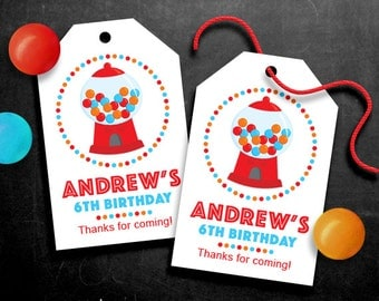 Personalized Gumball Party Favor Tags Red – DIY Printable – Hang Tags (Digital File)