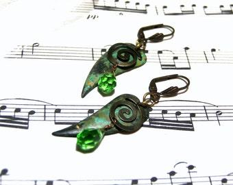 Green Earrings Leaf Earrings Peridot Earrings Spiral Earrings  Bohemian Jewelry Gifts for Women