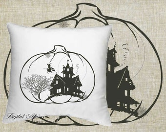 Digital Download Halloween Collection Witch and Spider Web House Black & White Image For Papercrafts, Transfer, Pillows, Totes, Etc hd-003
