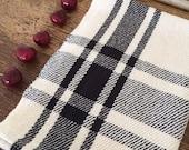 Handwoven kitchen towel / black & ivory farmhouse plaid