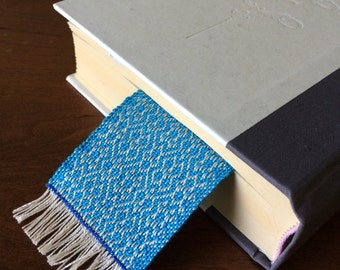 Turquoise handwoven cotton bookmark