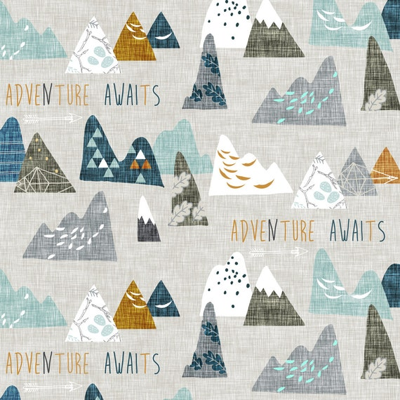Forest fabric adventure awaits earth small by nouveau for Children s clothing fabric by the yard