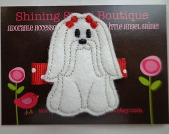 Girls Hair Accessories - Felt Hair Clips - Embroidered Boutique White And Red Felt Maltese Puppy Dog Hair Clippie For Girls - Pet Or Animals