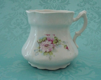 Mustache Cup, Charming Vintage Mustache Cup, White With Pink and Lavender Flowers, Teacup, Coffee Cup, Handled, 1930s, 1920s, Victorian