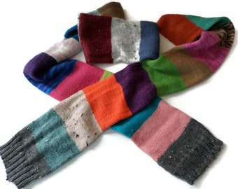 Scarf - Ladies Hand Knit Color Block Scarf - Muffler
