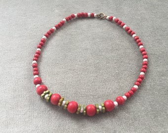 Art Deco Czech Wood Beads Necklace