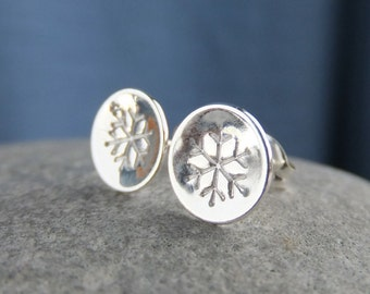 Sterling Silver Stud Earrings - SNOWFLAKES - Snowflake Studs - Hand Stamped Textured Metalwork Jewelry - Shiny or Oxidised