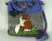 Alpaca Felted Purse, Alpaca Felted Handbag, Fox Art, Needle Felt Fox,