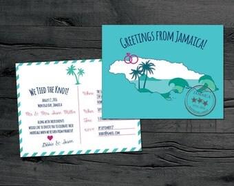 Jamaica Save the Date, Destination Wedding Save the Date, Map Save the Date, Post Wedding Reception Invitation