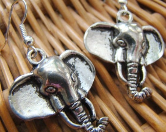 Elephant Head Earrings, Safari Earrings, Tribal Earrings