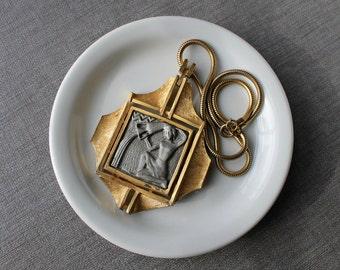 Vintage Luke Razza Zodiac Series Necklace, Aquarius the Water Bearer, Signed Designer Pendant