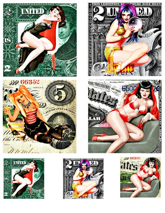 "pinup girls on money pin ups clip art 3.8""  2 inch squares digital download COLLAGE SHEET printables women dollar bills scrapbooking crafts"