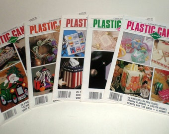 Vintage Plastic Canvas Corner Magazines - 5 Issues from 1990 - April, June, August, October, December Issues - Plastic Canvas Patterns