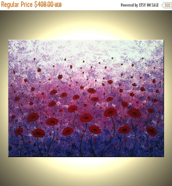 ORIGINAL XLarge Poppies Painting 40 x 30 gallery wrap canvas-Contemporary impasto abstract floral garden painting by Dan Lafferty