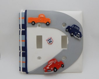 Vintage Truck Double Light Switch or Outlet Cover -  Truck Nursery - Childrens Truck Car Room Decor -  Clay - Toggle Cover or Rocker Cover