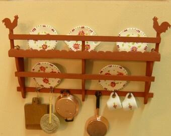 1:12 scale dollhouse miniature wall plate rack