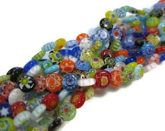 6 mm Single Flower Round Flat Millefiori Glass Beads Set of 50