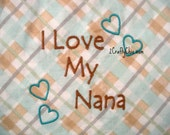 I Love My Nana Embroidered Bib with Velcro Closure for Babies and Toddlers