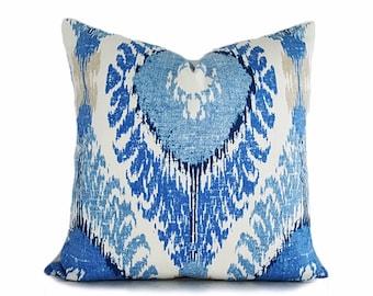 blue cream ikat pillow covers blue pillows blue throw pillow blue tan