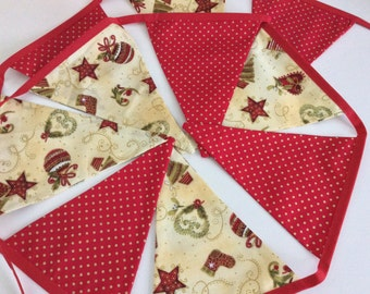 Sale Red and Gold Christmas Bunting  - 12 flag Fabric Garland Banner
