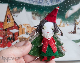 Christmas Tiny Girl, Art doll brooch, Christmas gift, christmas ornament