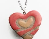 Breast Cancer Awareness 'Pink Ribbon Heart' Necklace - Interchangeable