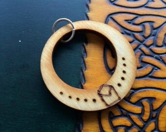 Double Circle Rustic Wood Burned BINDRUNE Gibo Auja Pendant For Change and Movement - Pine Wood With Blessing Oil - Runes - Pagan - Heathen