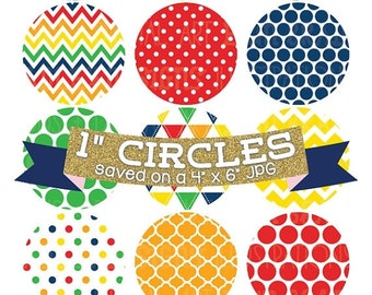"""50% OFF SALE Bottlecap Images Digital Collage Sheet 4 x 6 Primary Colors with 1"""" Circles Polka Dots Chevron Triangle Background Patterns"""