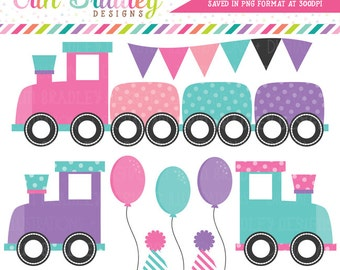 Girls Train Clipart Graphics Instant Download Birthday Party Clip Art with Balloons Bunting and Party Hats