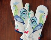 NEW Oven mitts | Roosters | Blue and yellow | Retro 50s kitchen | Oven gloves | Single or set - Made to order