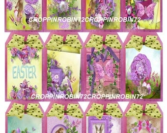 12 Easter Vintage Replica (57-E) Scrapbook Card Embellishments Hang Gift Tags
