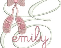 SALE 65% off Ballet Slippers Shoes Monogram Fonts Machine Embroidery Designs - 4x4 Hoop Instant Download Sale