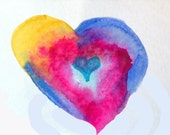 Watercolor Flow Valentine:  heart with gold, blue and teal (#16)  Reproduction Blank Note Card, 4.25x5.5 inches