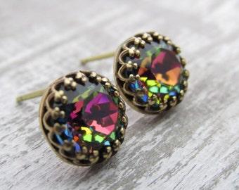 Rainbow Stud Earrings, Swarovski Crystal Post Earrings, Aurora Borealis, Rhinestone Jewel Studs