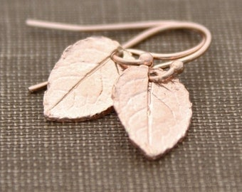 Rose Gold Earrings, Leaf Earrings, Small Dainty Earrings, Gift For Her, Rose Gold Jewelry, Bridesmaid Gift, Simple Earrings