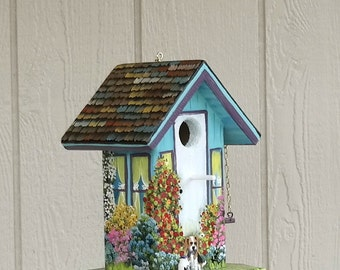 Turquoise and Lilac Birdhouse with Dog and Cat Hand Painted with lots of Flowers abd Clean Out