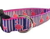 "1"" Hot Pink Whales Dog Collar, Martingale or Leash"
