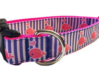 """1"""" Hot Pink Whales Dog Collar, Martingale or Leash"""